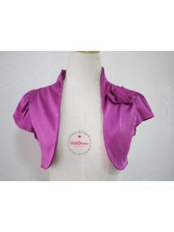 เสื้อคลุมหรูตัวสั้น สีม่วงอมชมพู ผ้าไหมจีนมันสวย จับช่อดอกไม้หน้าอก ไซส์มาตรฐาน