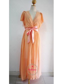 สาวอวบ/สาวอ้วน ชุดราตรียาวไซส์ใหญ่ มีแขน ผ้าชีฟองสีส้มหวานแทนเจอรีน ริบบิ้นซาตินสีส้มสวย ปรับขนาดเอวได้ ใส่แล้วเพรียวขึ้นค่ะ