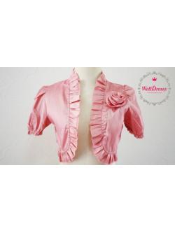 เสื้อคลุมสตัวสั้นใต้อก สีโอล์ดโรสเข้ม ไหมเทียม จับช่อกุหลาบ ชายระบายริ้วหวาน