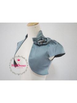 เสื้อคลุมหรูตัวสั้น สีเทาเงิน ผ้าไหมจีนมันสวย จับช่อดอกไม้หน้าอก ไซส์มาตรฐาน