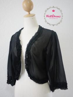 เสื้อคลุมชีฟองสีดำ แขนสามส่วน ระบายริ้วหวานชายเสื้อรอบตัว สำหรับสาวไซส์อวบ/อวบมาก