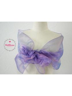 ผ้าคลุมไหล่ผ้าแก้ว โปร่งใส สีม่วงเม็ดมะปรางใสๆเนื้อนิ่มพริ้วหรู