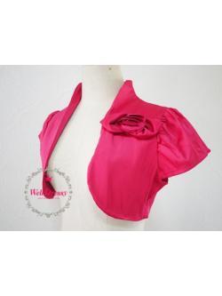 เสื้อคลุมหรูตัวสั้น สีชมพูข็อกกิ้งพิงค์ ผ้าไหมจีนมันสวย จับช่อดอกไม้หน้าอก ไซส์มาตรฐาน