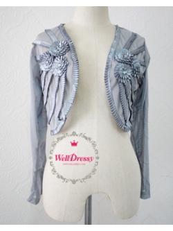 เสื้อคลุมแขนยาวสีเทาเงิน ผ้าไนลอนนิ่ม ลื่น งานปักมือ จับจีบริ้วดอกไม้หรู พรีเมียม สวยมาก