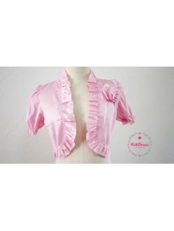 เสื้อคลุมสตัวสั้นใต้อก สีชมพู ไหมเทียม จับช่อกุหลาบ ชายระบายริ้วหวาน