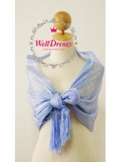 ผ้าคลุมไหล่ไหมสีฟ้าอมม่วงดอกอัญชัญ ลื่อมเงิน ประกายสวย ชายริ้วไหมหรูเริ่ด
