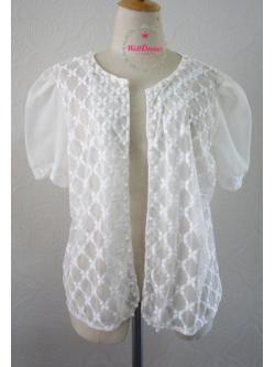 เสื้อคลุมลูกไม้ แขนสั้นชีฟองขาว ปักลูกไม้ กระดุมมุกน่ารัก สำหรับสาวไซส์อวบ/อ้วน