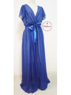 สาวอวบ/สาวอ้วน  ชุดราตรียาวมีแขนชีฟองสีน้ำเงิน ริบบิ้นซาตินสีน้ำเงินเข้มสวย ใส่แล้วเพรียวขึ้นค่ะ