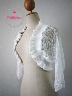 เสื้อคลุมลูกไม้หรูตัวสั้น ลูกไม้ยืดสีขาว ลายสวย จับช่อระบายทั้งตัว สวยมากกก