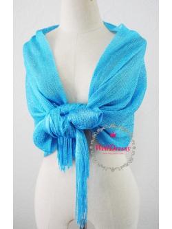 ผ้าคลุมไหล่ไหมสีฟ้าน้ำทะเล เลื่อมเงิน ประกายสวย ชายริ้วไหมหรูเริ่ด