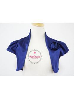 เสื้อคลุมหรูตัวสั้น สีนำ้ เงินเข้ม ผ้าไหมจีนมันสวย จับช่อดอกไม้หน้าอก ไซส์มาตรฐาน