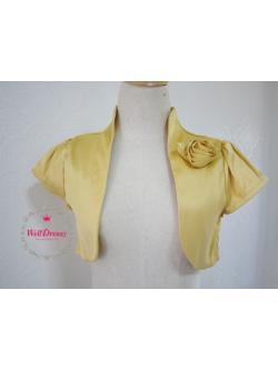 เสื้อคลุมหรูตัวสั้น สีทอง ผ้าไหมจีนมันสวย จับช่อดอกไม้หน้าอก ไซส์มาตรฐาน