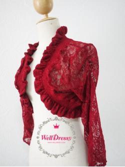 เสื้อคลุมลูกไม้หรูตัวสั้น ลูกไม้ยืดสีแดงทับทิม ลายสวย จับช่อระบายทั้งตัว สวยมากกก