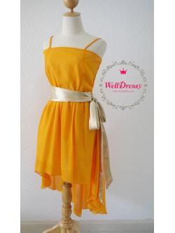 เดรสชีฟอง สีส้มอมเหลืองสายน้ำผึ้งทอง คาดเอวทองคลาสสิก หน้าสั้นหลังยาว สวยเปรี้ยวเก๋ สาวหุ่นมาตรฐาน/สาวอวบ