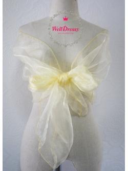 ผ้าคลุมไหล่ผ้าแก้ว โปร่งใส สีเหลืองนกขมิ้นอ่อนๆ นื้อนิ่มพริ้วหรู