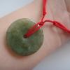 NCO14R สร้อยหยกเขียวขี้ม้าเข้มเหรีญจีนเบี้ยกลมใหญ่เนื้อวุ้นๆเล็กน้อย