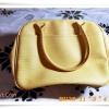 เคลียร์สต๊อก กระเป๋าถือ หนัง Pu ลายไม้สีเหลือง ด้านในจุของเยอะสุดๆ B208