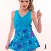 ชุดว่ายน้ำ Plus Size ชุดว่ายน้ำไซส์ใหญ่ แบบ ชุดว่ายน้ำวันพีช สำหรับ คนอวบ คนอ้วน แบบกระโปรง สีฟ้า ลายดอกไม้ แต่งโบว์ ด้านหน้า 282437_1