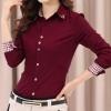 เสื้อเชิ้ตผู้หญิง เสื้อเชิ้ิตแขนยาว ใส่ทำงาน ดีไซน์ เพิ่มความสวยเก๋ พับแขนเป็นลายสก๊อต ปกด้านใน ลายสก๊อต เสื้อเชิ้ต สีแดงเลือดหมู แบบสวย ๆ 670211_1