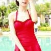 ชุดว่ายน้ำ วันพีช แบบมีระบายกระโปรง สวยใส น่ารัก แนวคิกขุ เปรี้ยวเล็ก ๆ สีแดง โดนเด่น แต่งระบายที่อก ใส่เดินชายหาด เล่นทะเล ได้ 70726_4