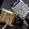 นาฬิกาโชว์กลไก ดีไซน์ หรู หน้าปัดสี่เหลี่ยม นาฬิกาสายหนังแท้ สีดำ ไม่ต้องใส่ถ่าน สีเงิน สีทอง ของขวัญให้แฟน ให้พ่อ ให้ผู้ใหญ่ สุดหรู 624222