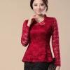 เสื้อผ้าลูกไม้ แขนยาว สีแดง ใส่ออกงาน สไตล์ คุณหญิง คุณนาย เสื้อแฟชั่นผู้หญิง ใส่ไปงานทางการ งานราตรี งานแต่งงาน แบบสวย มีดีไซน์ 424502_3