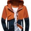 เสื้อแจ็คเก็ต ผู้ชายแขนยาว ผ้า Polyester เนื้อผ้า บางเบา เสื้อแขนยาว ใส่วิ่ง มีฮู้ด สีส้มอิฐ สลับ น้ำเงินกรมท่า มีกระเป๋าข้าง กันลม ได้ 220418_4