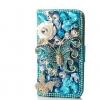 เคส Samsung Galaxy S4 mini i9190 เคส Diy แบบ ฝาเปิดปิด Filp cas เคส 3 D แต่งคริสตัล โทนสีฟ้า รูป ผีเสื้อ ราตรี เคสเว่อร์ ๆ 755953