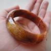 HN03BJ กำไลหยกพม่าแท้ลายเหมือนไม้สีธรรมชาติ5.4cm.