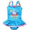 ชุดว่ายน้ำเด็กผู้หญิง ชุดว่ายน้ำเด็ก วันพีช สีฟ้า สดใส ลายแมวน้อย Sweet Cat มีติดดอกไม้ น่ารัก ๆ ที่สายเสื้อ ระบายกระโปรง เก๋ ๆ 918777