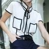 เสื้อผ้าชีฟอง แขนสั้น แฟชั่น จากยุโรป แบบคอตั้ง สีขาว ตัดลายเส้น สีดำ เสื้อแฟชั่น สุดชิค ใส่กับ กระโปรง หรือ กางเกงขาสั้น ได้แบบ ฟินสุดๆ 504579_1