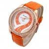นาฬิกาข้อมือผู้หญิง สายหนัง สีส้ม สาวเปรี้ยว เพิ่มความหรูหรา ด้วย คริสตัล เพชร ล้อมหน้าปัด ดีไซน์ เพชรด้านใน สวยหรู 44728_2