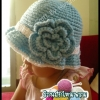หมวกถักไหมพรม blue Flower