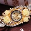 นาฬิกาข้อมือ ผู้หญิง กำไลข้อมือ แบบนาฬิกา ฝังเพชร CZ แต่งคริสตัล ดอกกุหลาบ สวยหรู ติด พลอยแดง ขาว และ น้ำเงิน ของขวัญให้แฟน ไฮโซ ค่ะ 255742