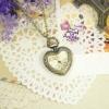 นาฬิกาพก,นาฬิกาสร้อยคอสไตล์วินเทจหน้าปัดสีชาทรงหัวใจ