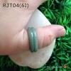 RJT04 แหวนหยกปลอกมีดหยกพม่าแท้เขียวเข้ม แบบใหม่ทำลายเหมือนแหวนสองชั้น สีธรรมชาติ