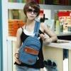 กระเป๋าคาดอก ผู้หญิง ผู้ชาย ใช้ได้ สายสะพาย ดีไซน์ เป็นซิปรูด ปรับเป็น กระเป๋าสะพายหลัง ได้ วัสดุผ้าแคนวาส อย่างดี แต่ง หนังแท้ สีฟ้า 524690_1