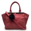 กระเป๋าสะพาย สีแดง ตกแต่งพู่กลม ขนาดใหญ่
