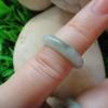 RJA125S แหวนหยกพม่าแท้ไซส์เล็กพิเศษสีเขียวปนขาว (49) 15.61 mm.