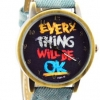 นาฬิกาข้อมือ สไตล์ วัยรุ่น ผู้หญิง ผู้ชาย ใส่ได้ หน้าปัดข้อความให้กำลังใจ everything will be ok ของขวัญยอดนิยม สีฟ้า Ocean no 526000_4