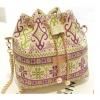 กระเป๋าสะพายข้าง ขนาดกลาง ทรงถุงหูรูด กระเป๋าสะพายผู้หญิง แบบเก๋ ผ้าแคนวาส แฟชั่น ไฮโซ ลายไทย ดอกไม้ ม่วงเขียว สีหวานมากค่ะ no 263739_4