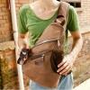 กระเป๋าคาดอก ใบใหญ่ ใช้เป็น กระเป๋าเป้ หรือ กระเป๋าใส่เสื้อผ้า เดินทางได้ กระเป๋าเป้ ทรงสามเหลี่ยม ดีไซน์ เก๋ สีน้ำตาล ผ้าแคนวาส แข็งแรง ทนทาน 533461