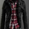 เสื้อกันหนาวผู้ชาย เสื้อคลุมผู้ชายแขนยาว สไตล์ แจ็คเก็ตยีนส์ สไตล์ คาวบอย Jacket สีดำ คอเปิด ซิปด้านหน้า กระดุมปิดทับ 681726