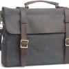กระเป๋าสะพายข้าง ผู้ชาย หนังแท้ ผ้ายีนส์ แบบสวย ไฮโซ กระเป๋าใบใหญ่ ใส่ notebook ได้ สีเทาออกดำ ราคาพิเศษ no 97646_2