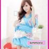 กิมโมโน สีฟ้าลายดอกชมพู หวานใสๆ น่ารักมากมาย