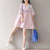 เสื้อสไตล์ญี่ปุ่นผ้าคอตตอนตัวใหญ่ Summer new literary retro big yards long section dress women