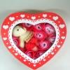 กล่องหัวใจวาเลนไทน์ หมี+ดอกกุหลาบ18ดอก(มีกลิ่นหอม) สีแดง