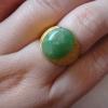 NJ03P หัวแหวนหยกพม่าแท้5.5 ct.เขียวใบไม้แก่แกมเหลืองเล็กน้อย สีธรรมชาติเนื้อเทียนมีดอกขาวเป็นหยกกินบ่อเซี่ยง