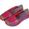 รองเท้าหุ้มส้น รองเท้า คัทชู หนังแท้ รองเท้าผู้หญิง สีชมพูเข้ม ดอกกุหลาบ หวาน ๆ เพ้นท์ลาย ดอกไม้ สวย ๆ รองเท้าหนังผู้หญิง ใส่เที่ยว 545699_1