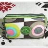 กระเป๋าใส่ดินสอ ใส่ของจุกจิก ลายวงกลมโทนสีเขียว KP910
